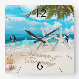 White Sands Beach Starfish Couple Square Wall Clock