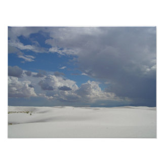 White Sands White Clouds Poster