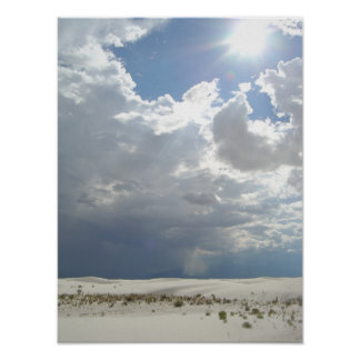 White Sands White Clouds White Sun Poster
