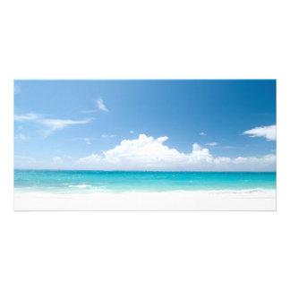 White Sandy Beach and Okinawa Japan Customised Photo Card