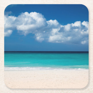 White sandy beach at Eagle Beach Square Paper Coaster