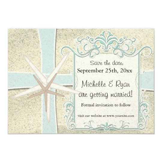 White Sandy Beach Elegant Vintage Save the Date Card