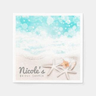 White Sandy Beach Starfish Blue Ocean Custom Party Paper Napkin