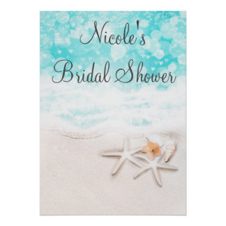 White Sandy Beach Starfish Blue Ocean Party Banner Poster