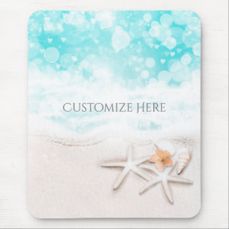 White Sandy Beach Starfish Blue Ocean Tropical Mouse Pad