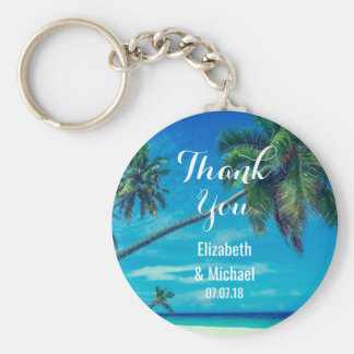 White Sandy Beach with Coconut Palms Wedding Basic Round Button Key Ring