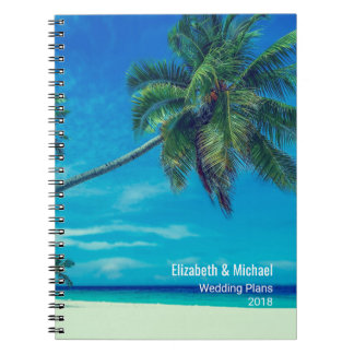 White Sandy Beach with Palm Trees Wedding Plans Note Books