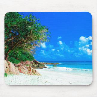White Sandy Tropical Island Beach Mouse Pad