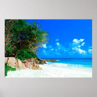 White Sandy Tropical Island Beach Poster