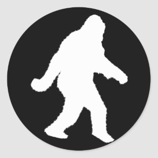 White Sasquatch Silhouette For Dark Backgrounds Classic Round Sticker