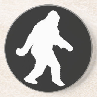 White Sasquatch Silhouette For Dark Backgrounds Coaster