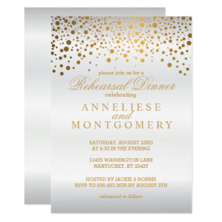 White Satin and Gold Confetti Rehearsal Dinner Card