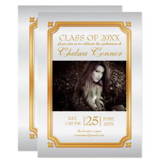 White Satin and Gold Graduate Invitation