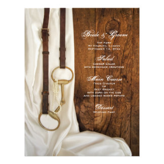 "White Satin and Horse Bit Country Wedding Menu 8.5"" X 11"" Flyer"