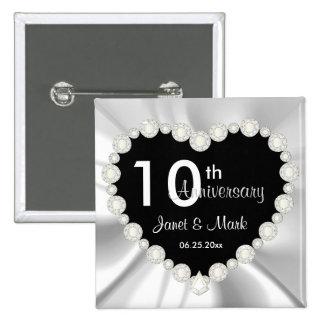 White Satin DIY Anniversary Wedding 15 Cm Square Badge