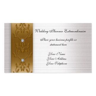 White satin look gold trim Business card