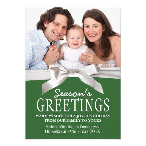 White Satin Ribbon and Green with Christmas Photo Announcements