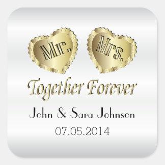 White Satin Wedding  - Personalize Square Sticker
