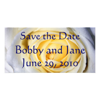 White Save the Date Customized Photo Card
