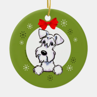 White Schnauzer Natural Ears Christmas Classic Ceramic Ornament