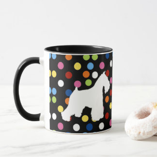 White Schnauzer Polka Dot Coffee Mug