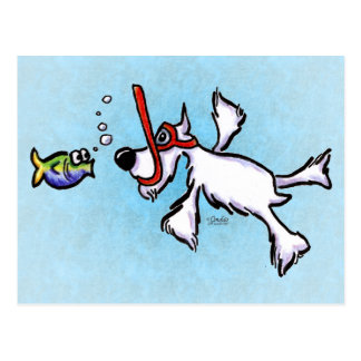 White Schnauzer Snorkeling Off-Leash Art™ Postcard