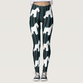 White Schnauzer Stripes Leggings