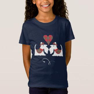 White Scotch Terrier Dogs  In Tartan Dog Lovers T-Shirt