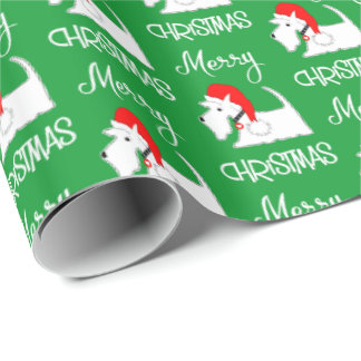 White Scottie Dog Cute Festive Dog Lovers Wrapping Paper