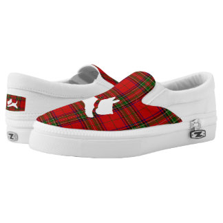 White Scottie on Stewart Plaid Slip On Shoes