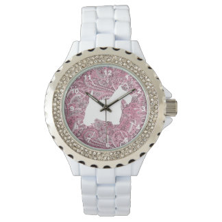 White Scottie Pink Paisley Print Watch