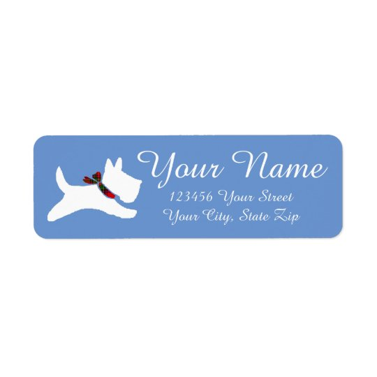 White Scottie Return Address Label