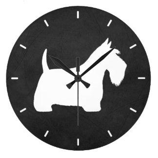White Scottish Terrier Silhouette Large Clock