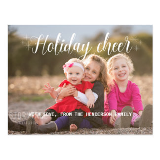 White Script Holiday Cheer Photo Postcard