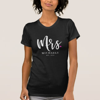White Script Mrs. (Name) With Your Wedding Year T-Shirt