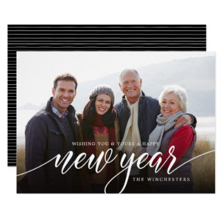 White Script New Year Holiday Photo Card