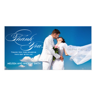 WHITE SCRIPT WEDDING THANK YOU PHOTO CARD
