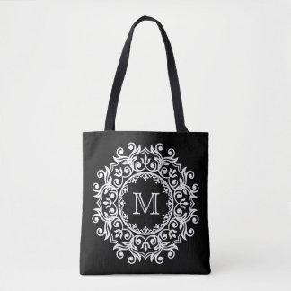 White Scroll Wreath on Black Monogram Tote Bag