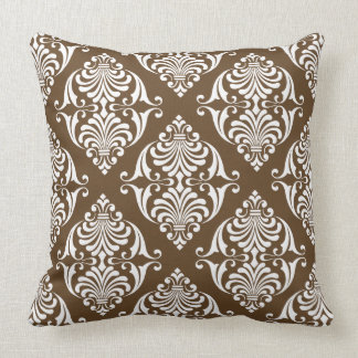 White Scrolls on Chocolate Brown Cushion