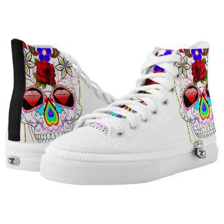 White Scull printed Designer Sneakers