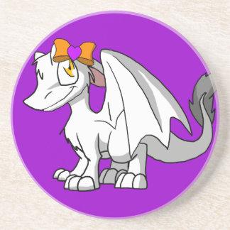 White SD Furry Dragon w/ Halloween Heart Hairbow Coaster