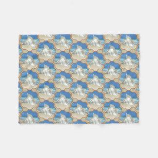 White Sea Shell on Sand Fleece Blanket