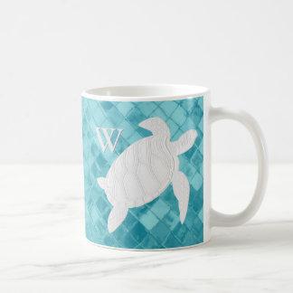 White Sea Turtle Aqua Sea Glass Monogram Coffee Mug