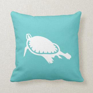 white Sea turtle on teal blue pillow