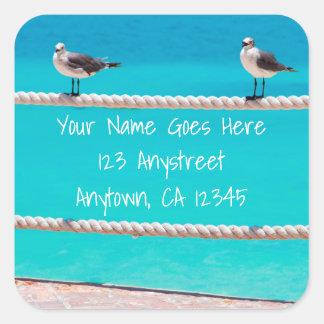 White seagull beach birds photo custom address square sticker