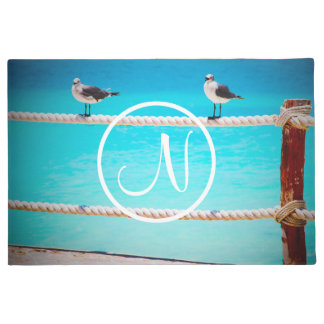 White seagull birds at ocean photo custom monogram doormat