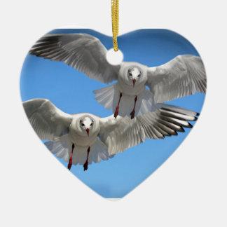 White Seagulls In Flight Ceramic Ornament