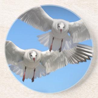 White Seagulls In Flight Coaster
