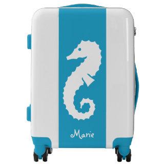 White seahorse turquoise luggage