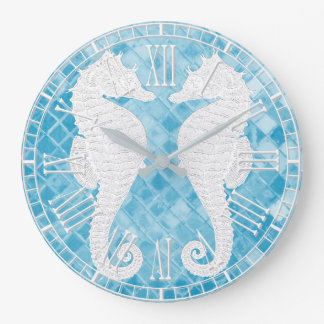 White Seahorses Blue Sea Glass Large Clock